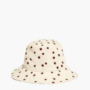 Madewell Daisy Embroidered Canvas Bucket Hat NWT